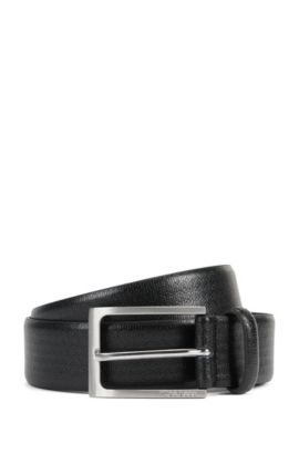 Leather belt with geometric embossed pattern, Black