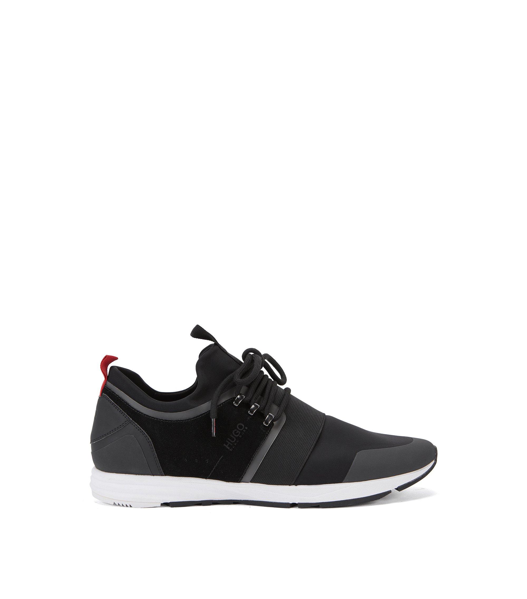 Sneakers met Vibram-zool en elastisch banddetail, Zwart