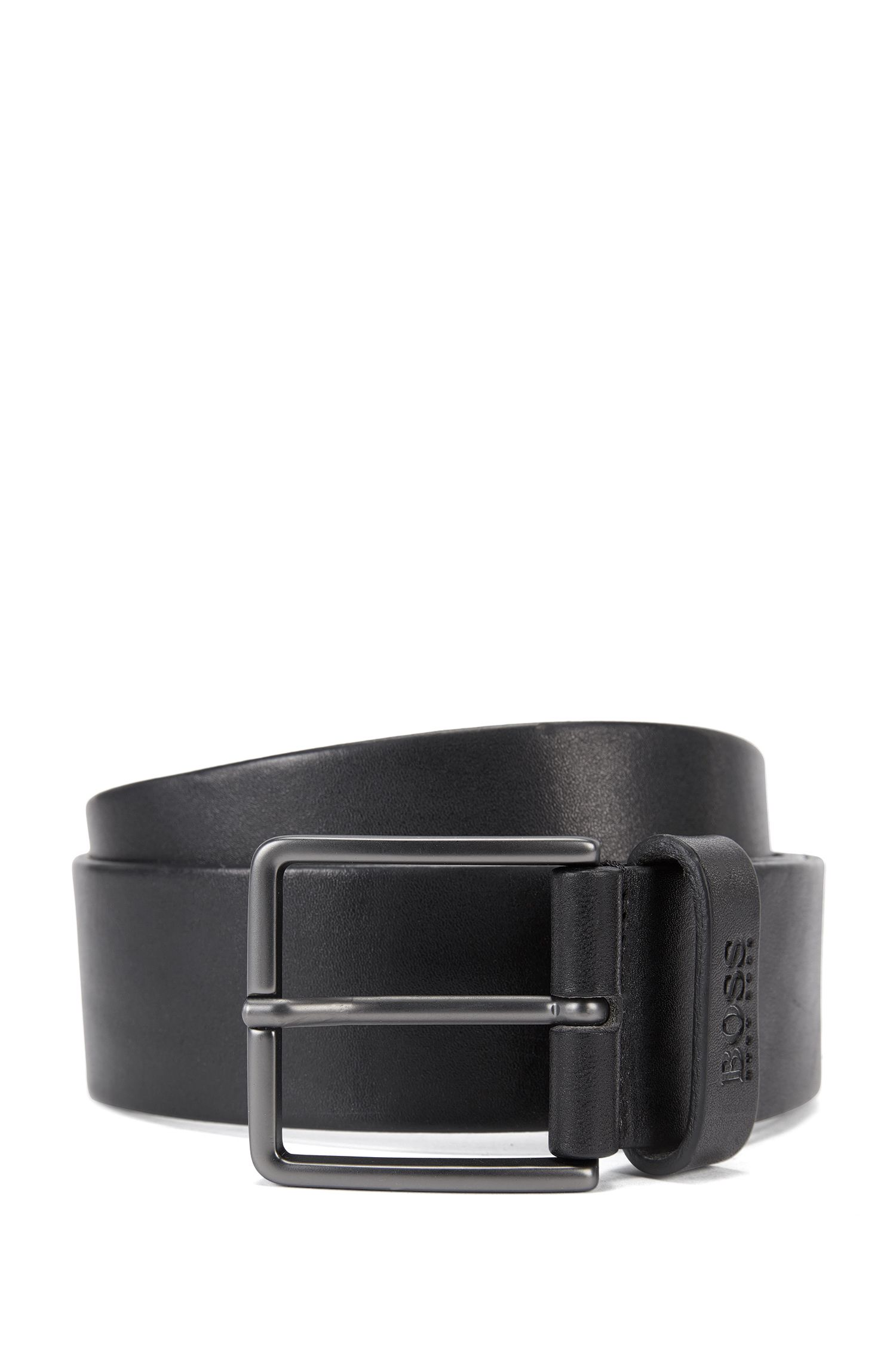 Casual leather belt with matt pin buckle