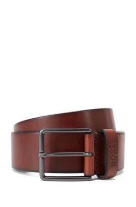 Casual leather belt with matt pin buckle , Brown