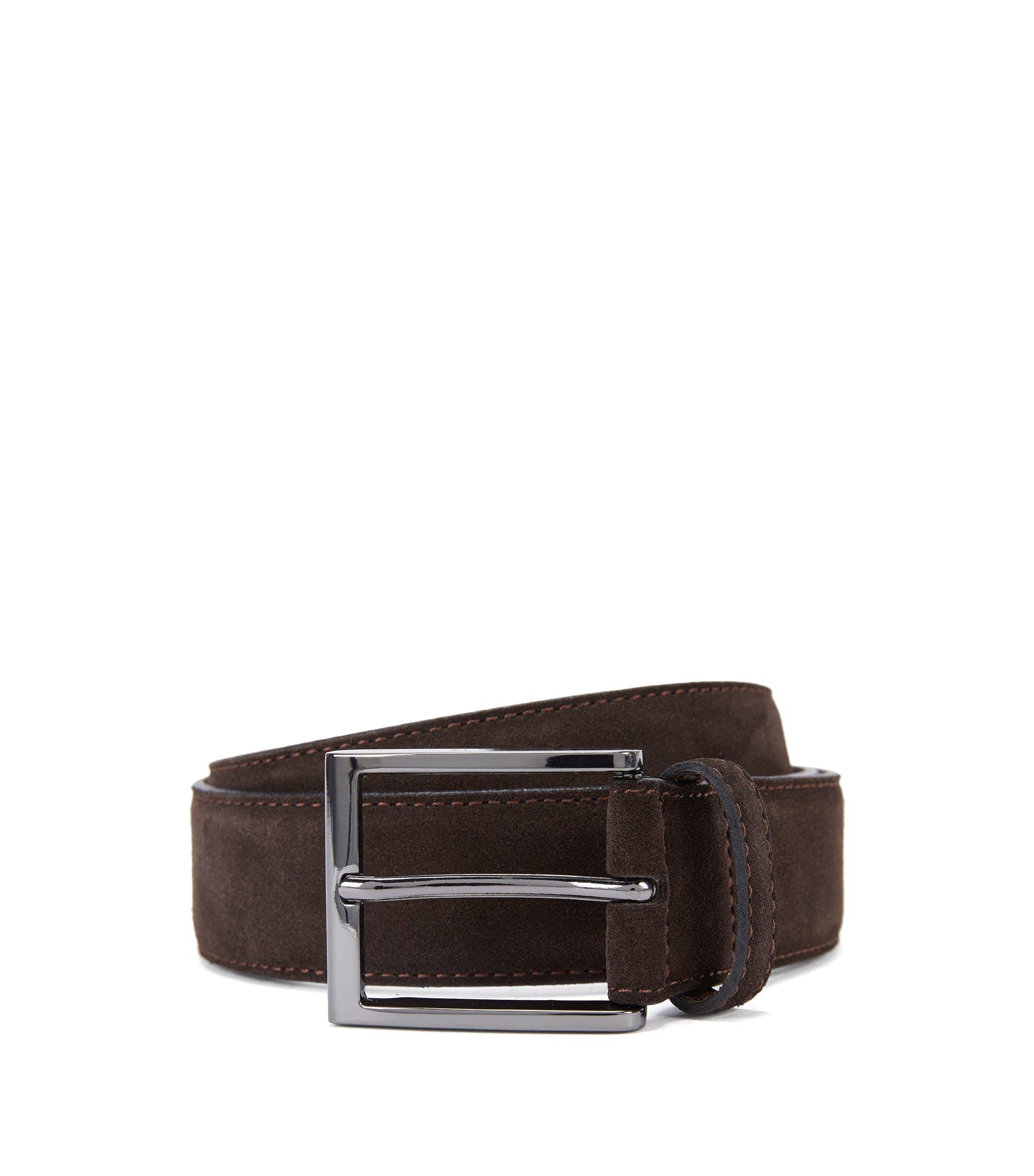 Cintura in pelle scamosciata con punta in metallo griffata , Marrone scuro