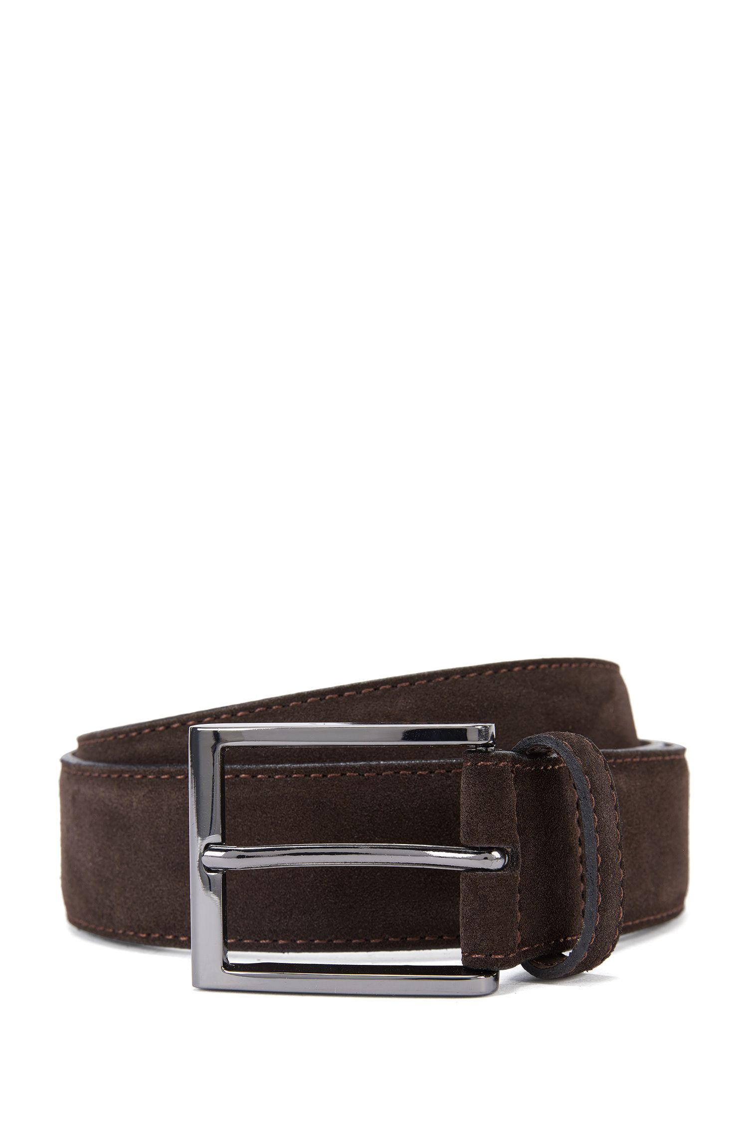 Suede belt with branded metal tip