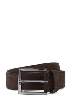Suede belt with branded metal tip , Dark Brown