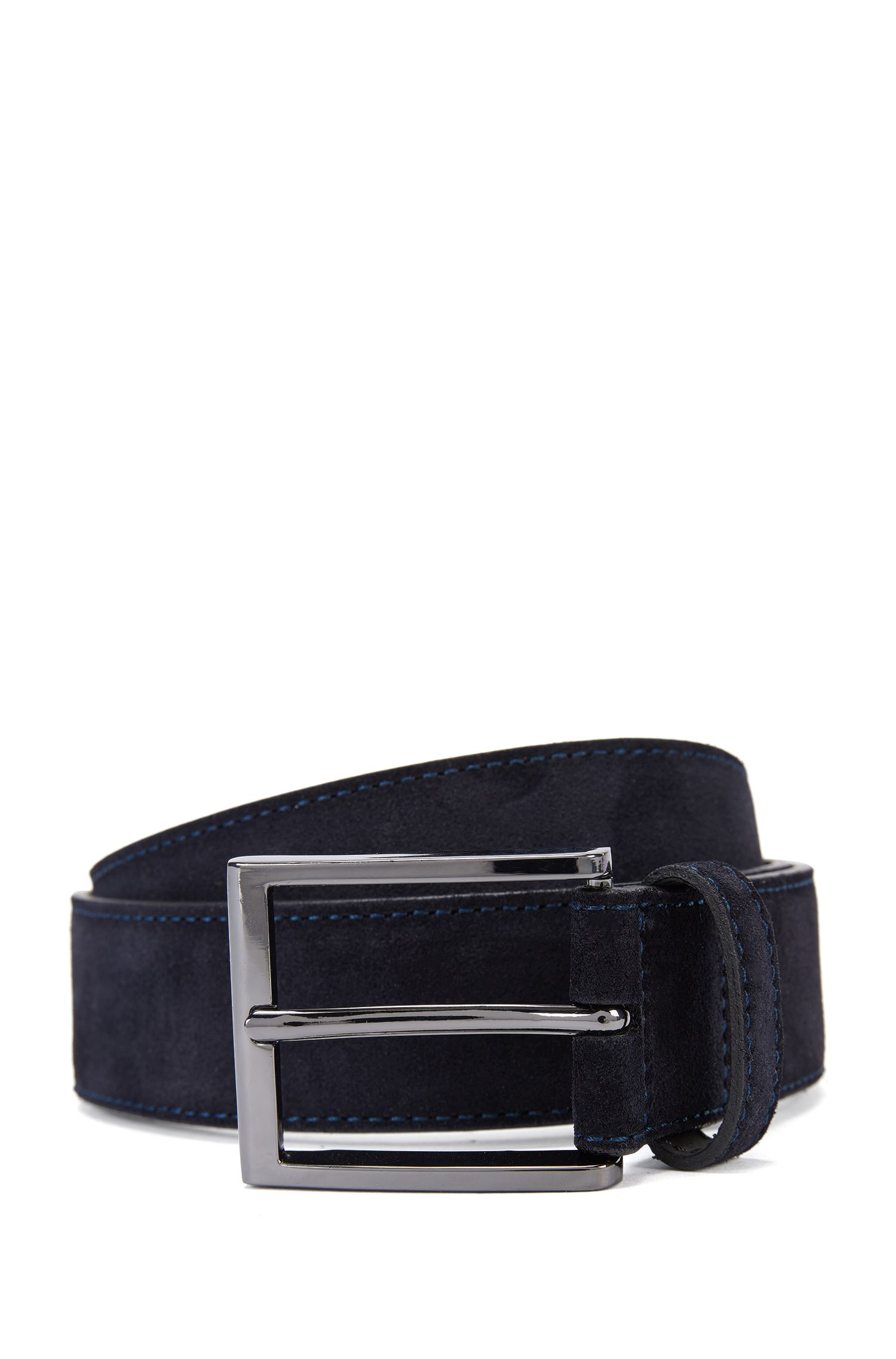 Cinturón de ante con punta de metal con detalle de la marca