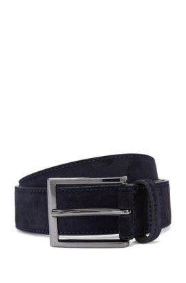 Suede belt with branded metal tip , Dark Blue