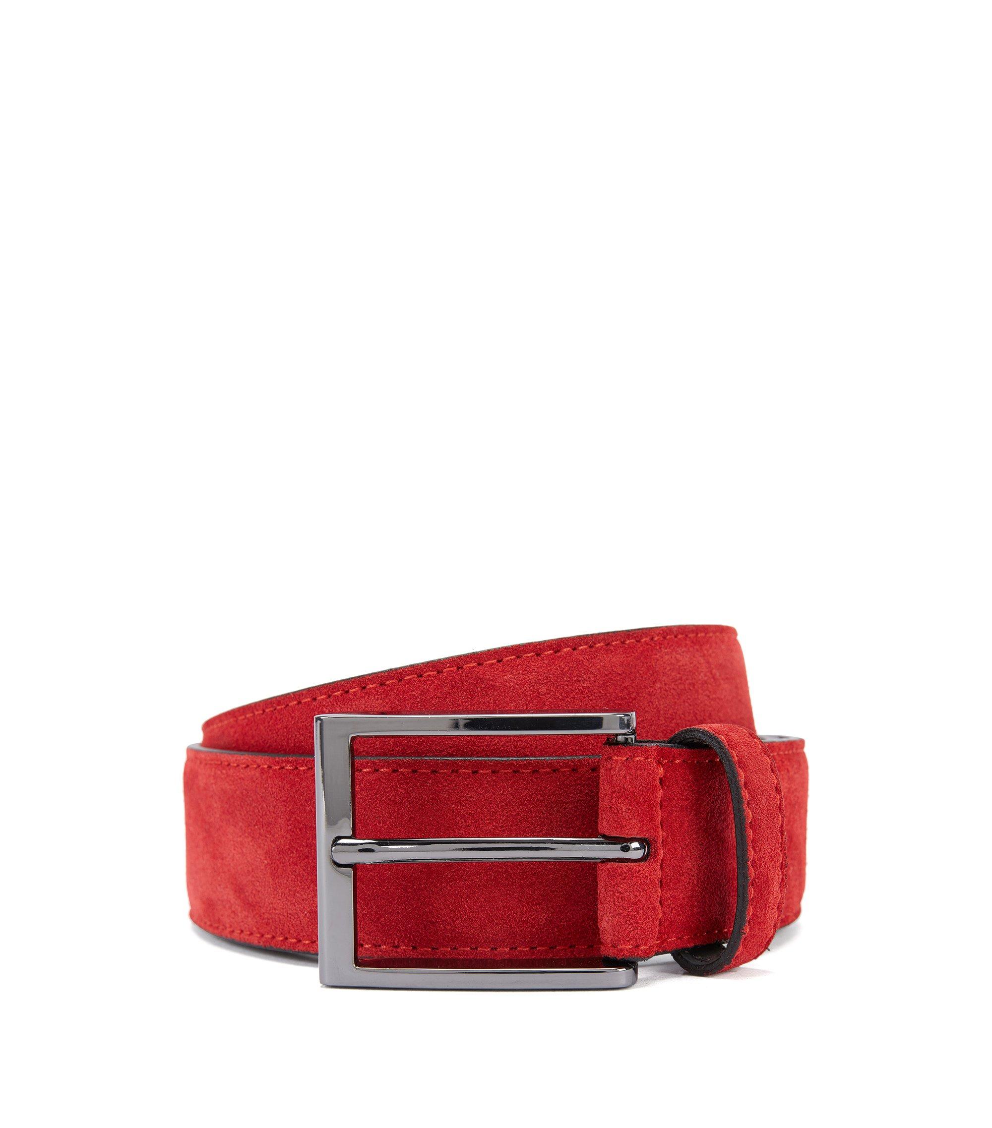 Suede belt with branded metal tip , Dark Red