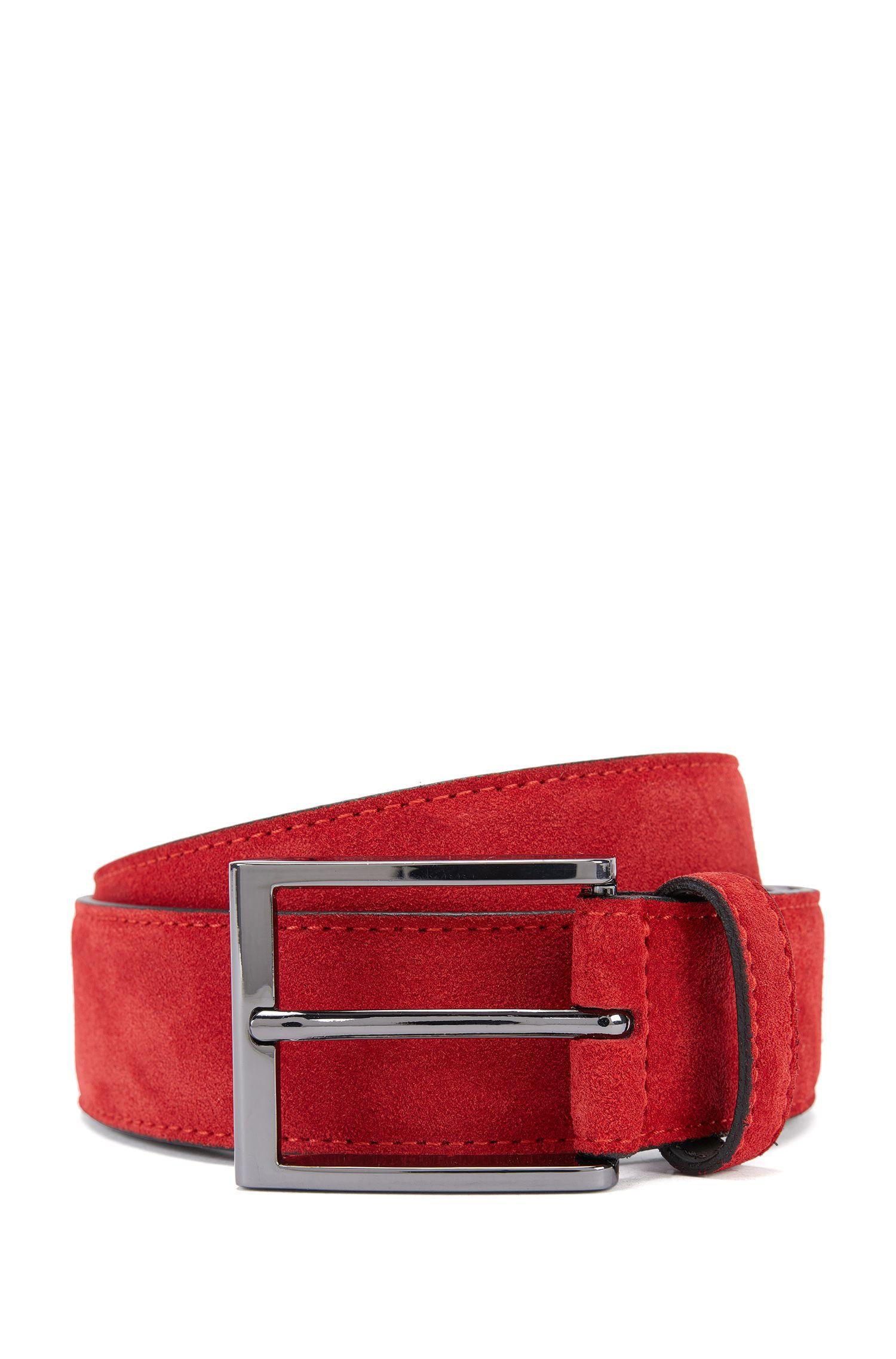 Suede belt with branded metal tip