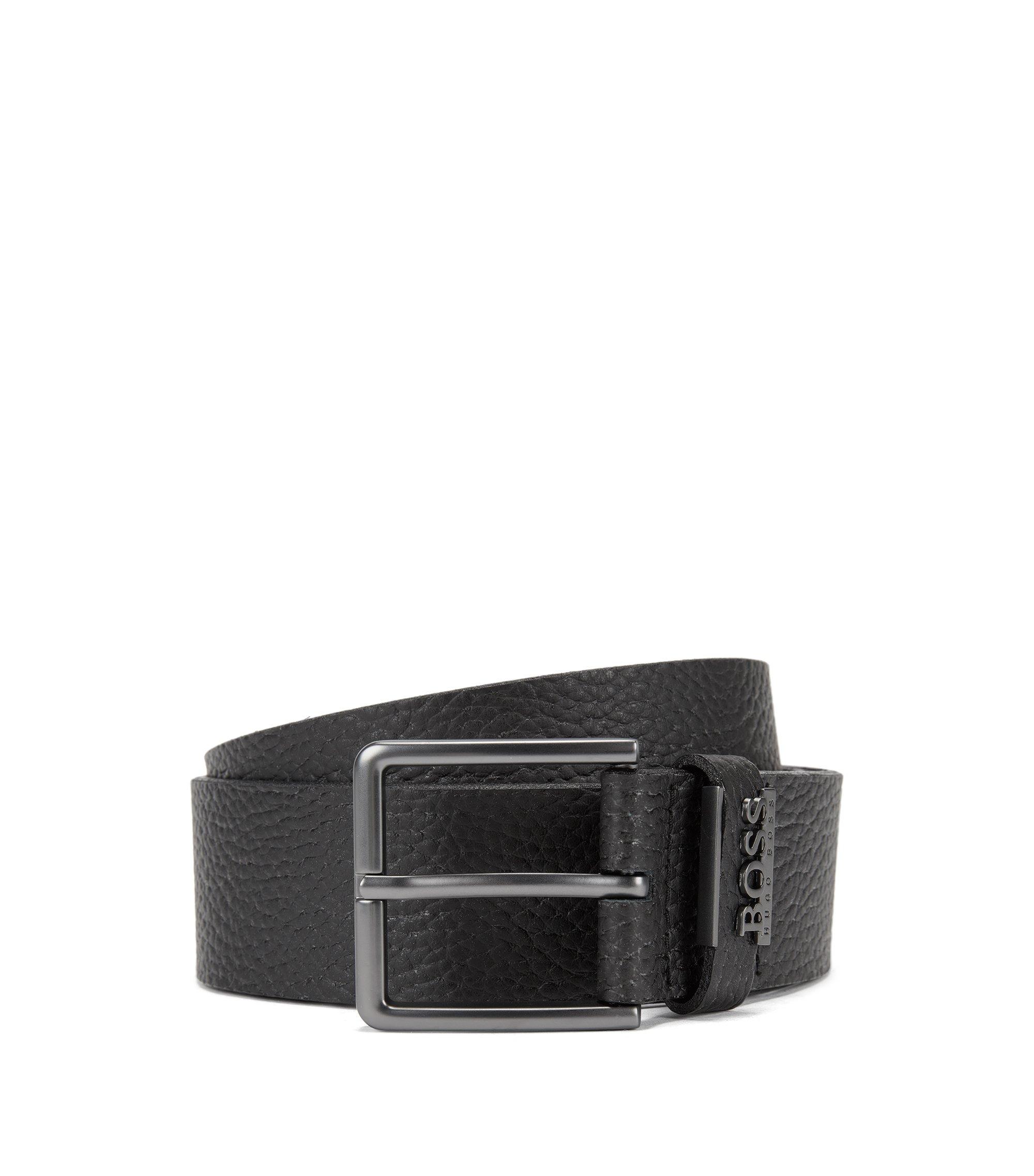 Grained-leather belt with matt gunmetal hardware, Black