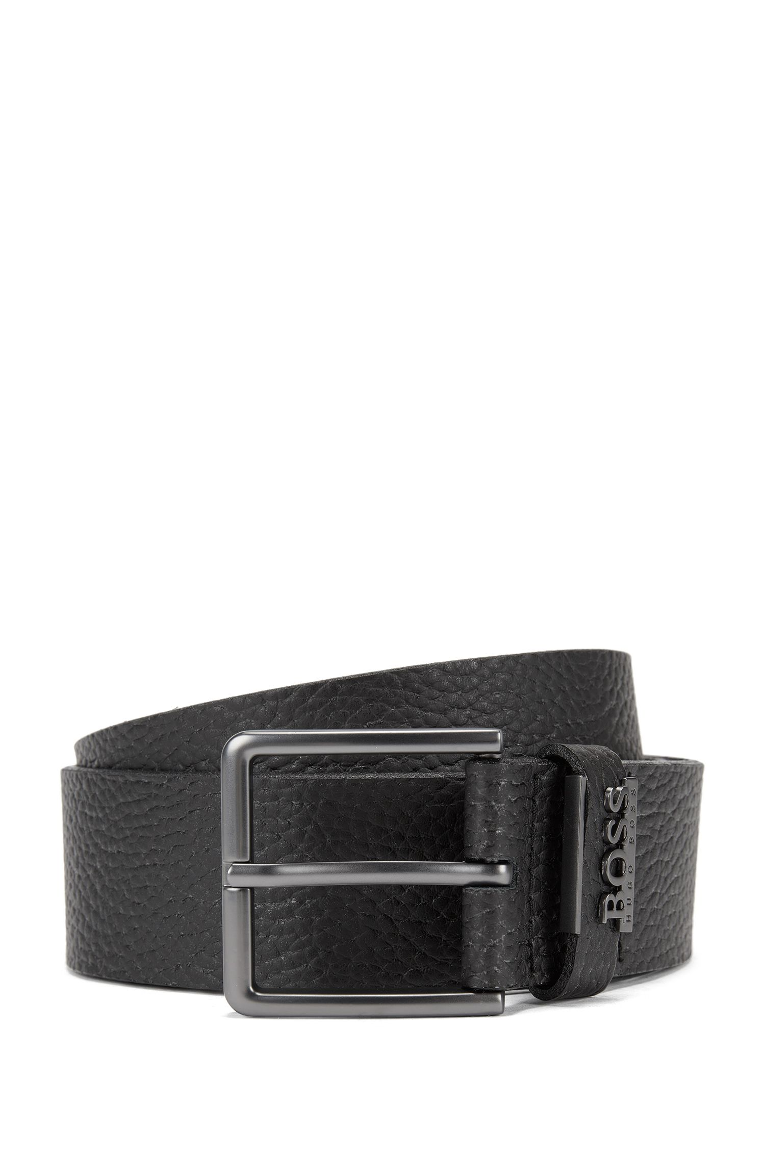 Grained-leather belt with matt gunmetal hardware