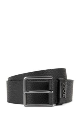 Grained-leather belt with matt gunmetal hardware, Black