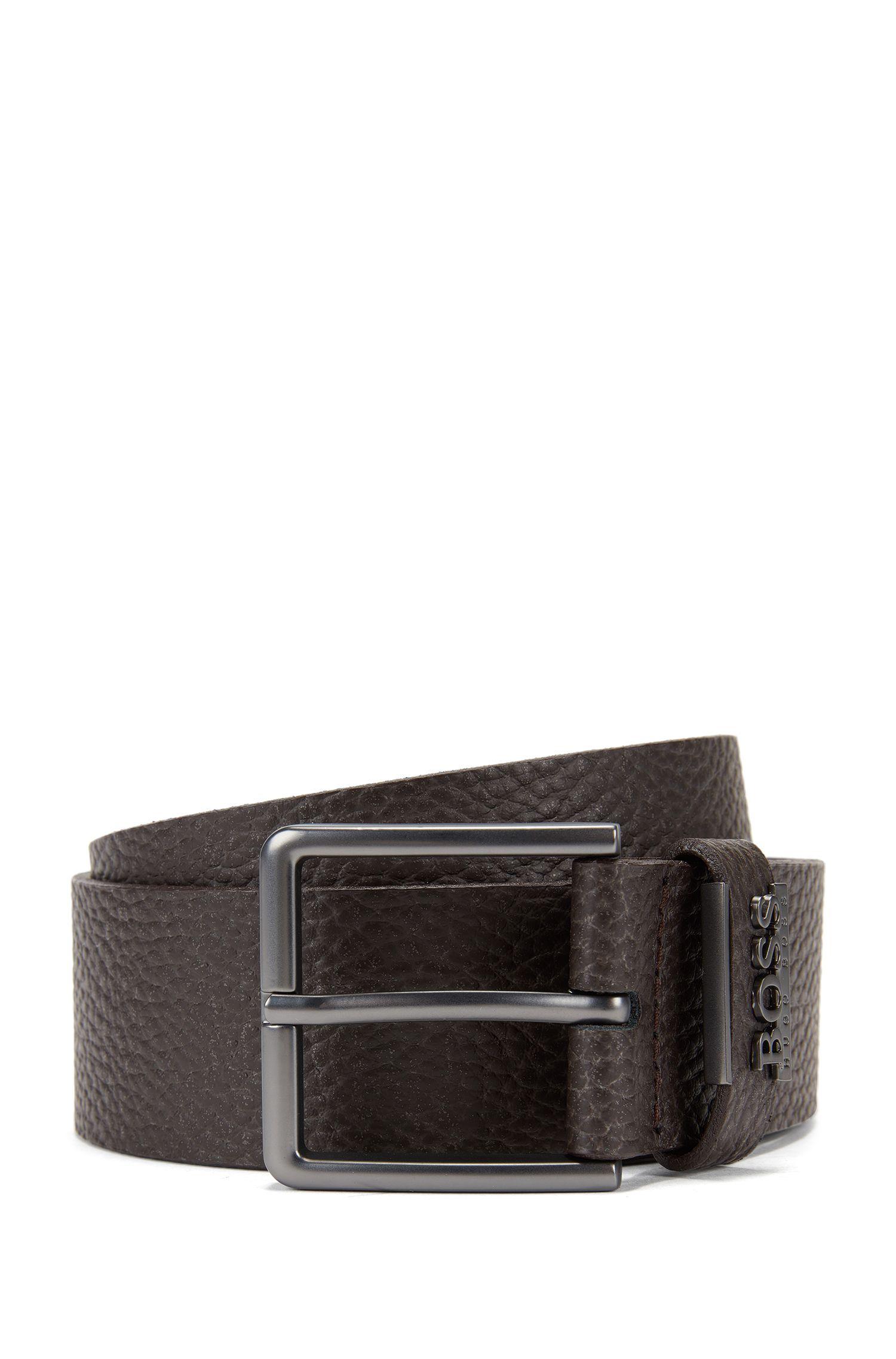 Grained-leather belt with matt gunmetal hardware