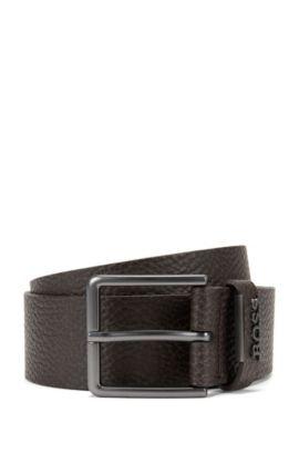 Grained-leather belt with matt gunmetal hardware, Dark Brown