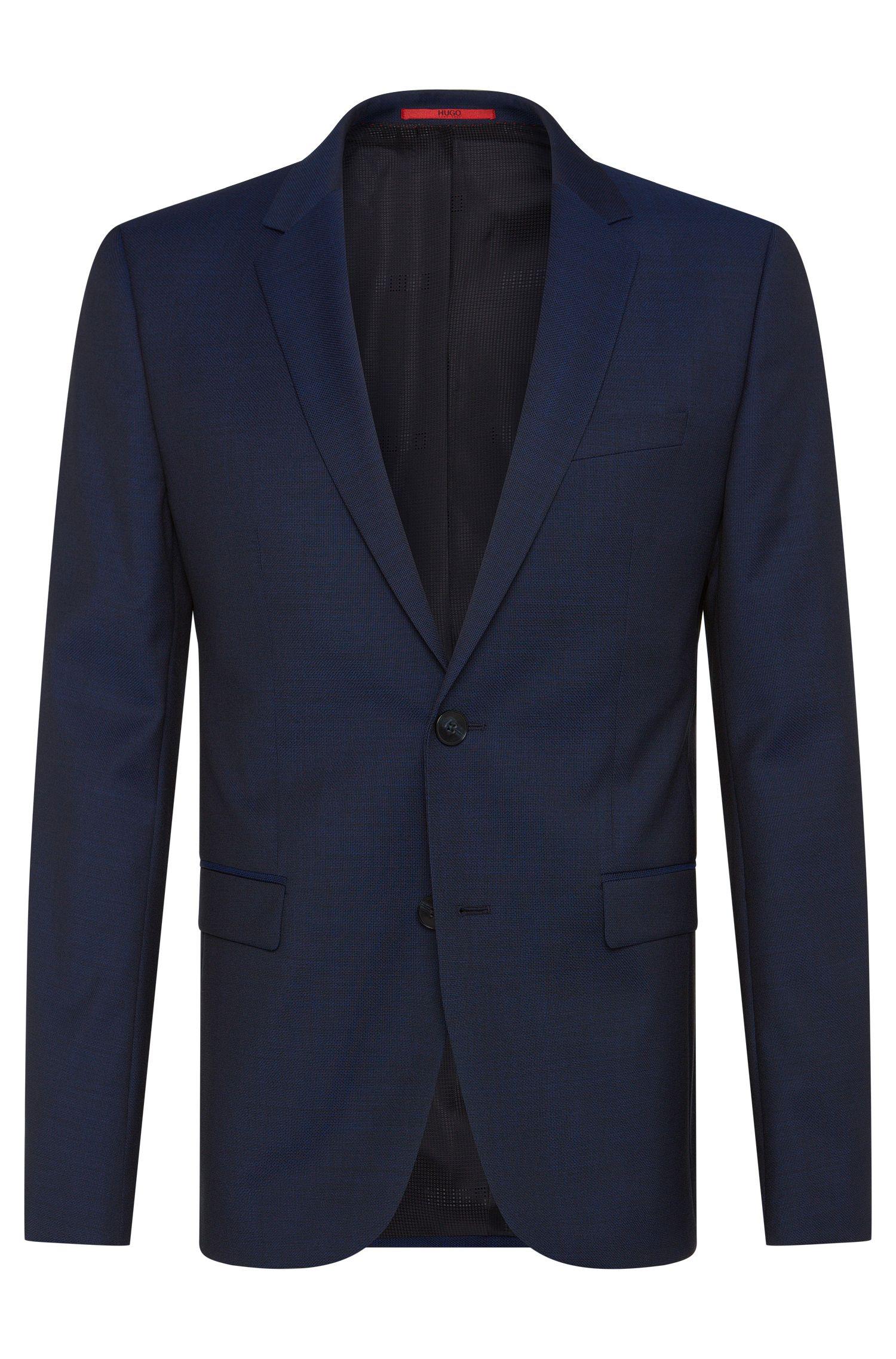 Veste de costume Slim Fit en laine vierge finement structurée: «AldonS»