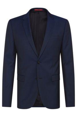 Americana slim fit en lana virgen con textura fina: 'AldonS', Azul oscuro
