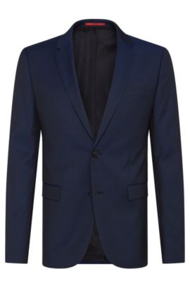 Slim-fit jacket in finely textured new wool: 'AldonS', Dark Blue