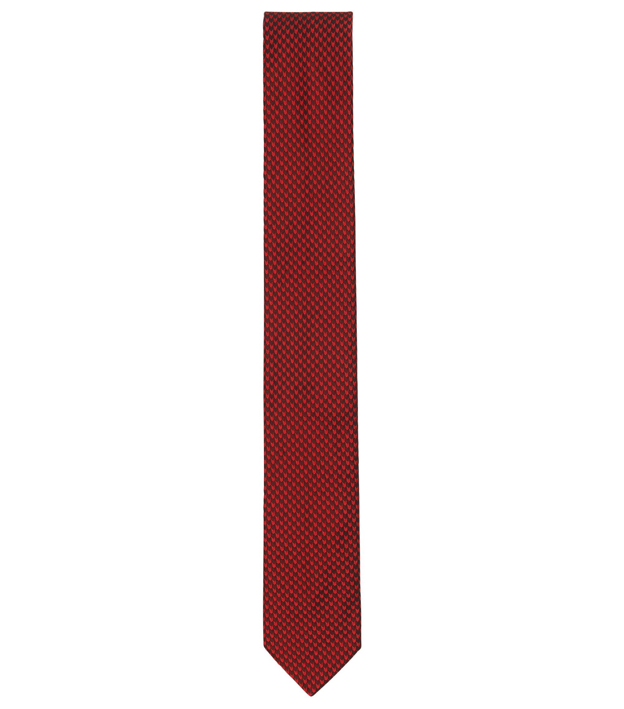 Cravate jacquard en soie à micro-motif , Rouge