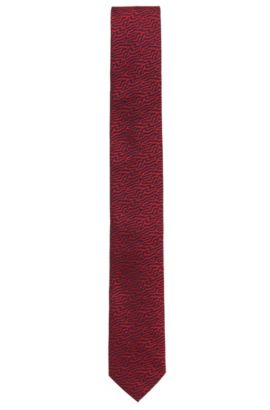 Jacquard tie in fine silk , Red