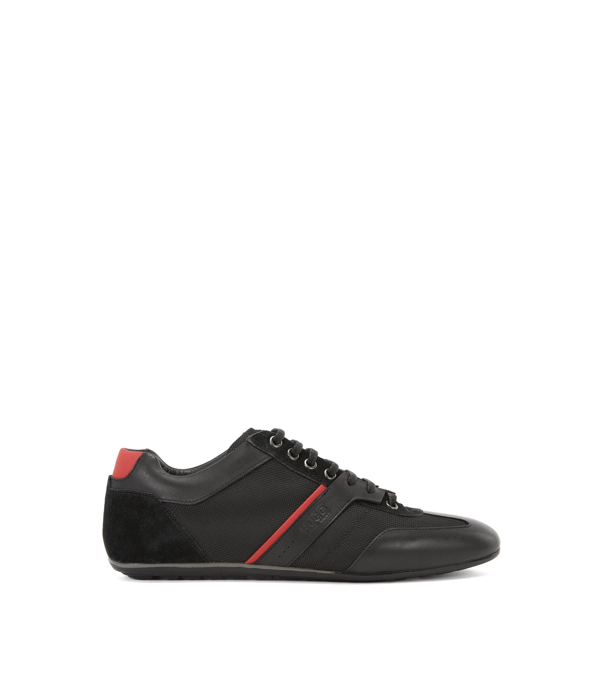 Chaussures de sport basses avec revêtements en cuir, Noir