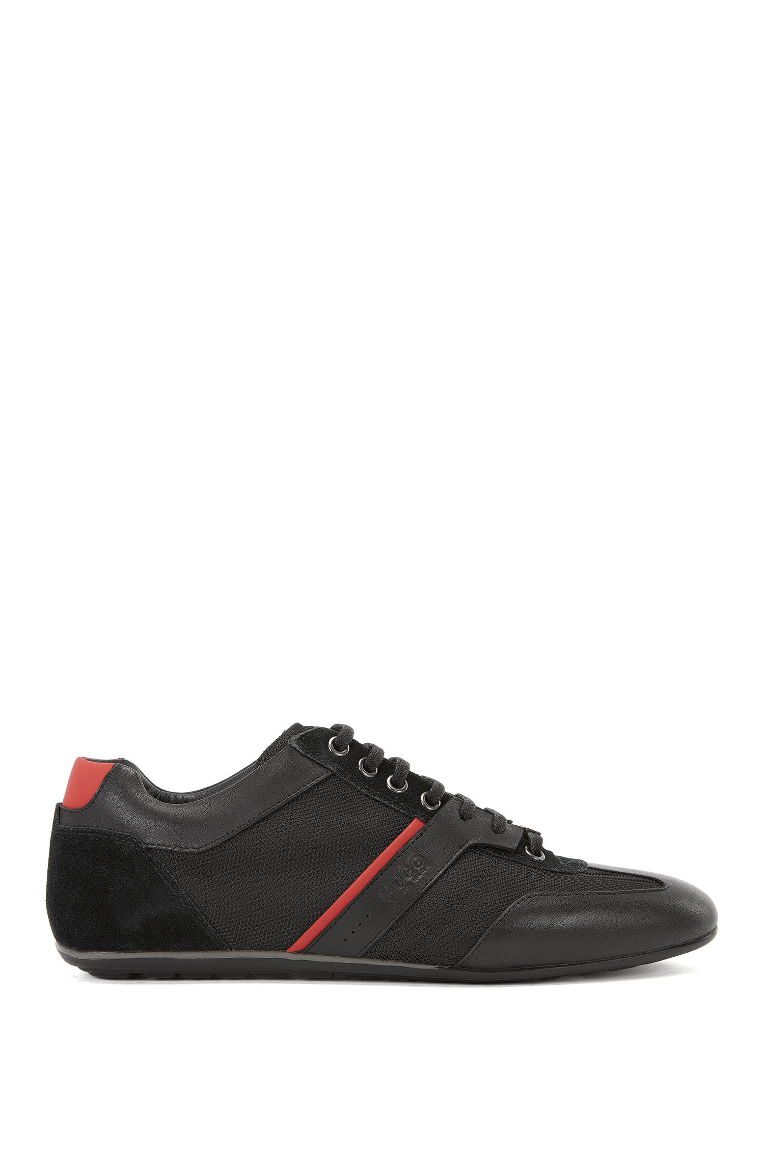 Low-top trainers with leather overlays