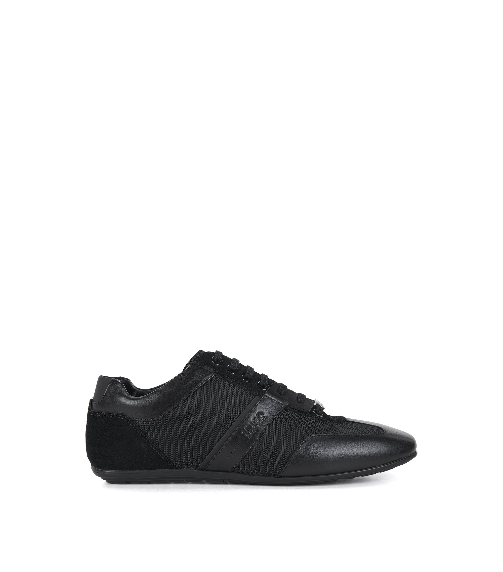 Sneakers mit Leder-Details, Schwarz
