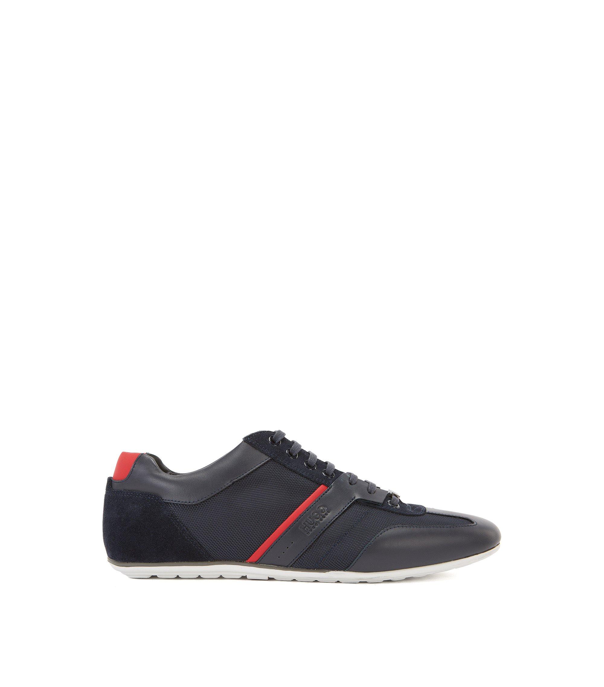 Sneakers mit Leder-Details, Dunkelblau