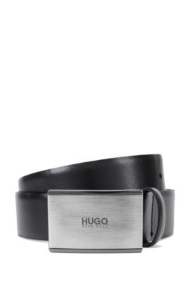 Leather belt with branded plate buckle , Black