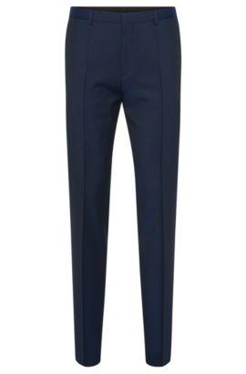 Pantalón con raya slim fit en lana virgen: 'HartleyS', Azul oscuro