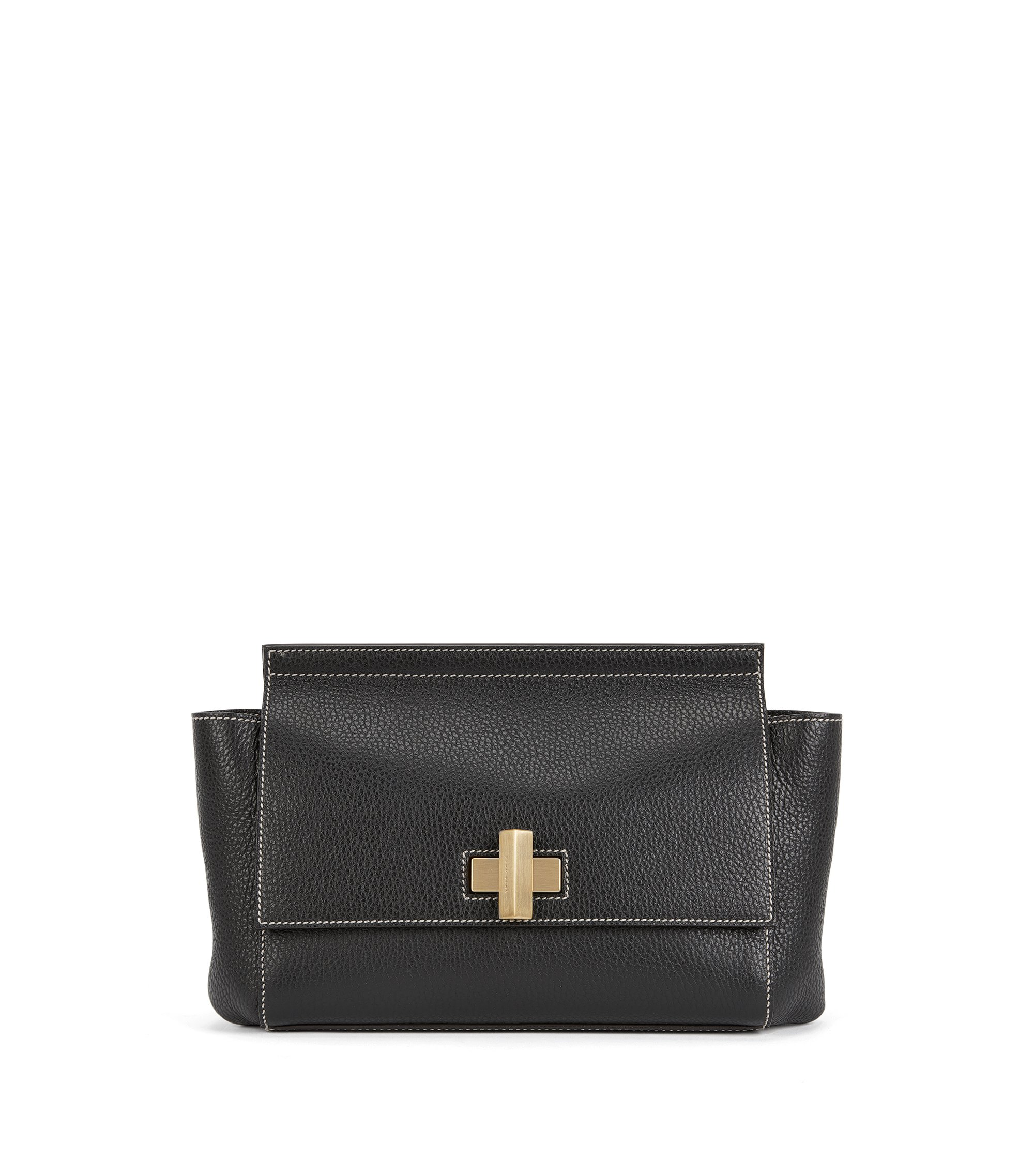 Small BOSS Bespoke Soft bag in grainy leather, Black