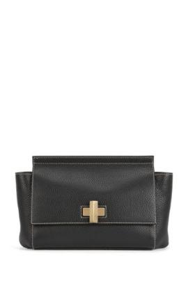 Kleine BOSS Bespoke Soft Tasche aus genarbtem Leder, Schwarz