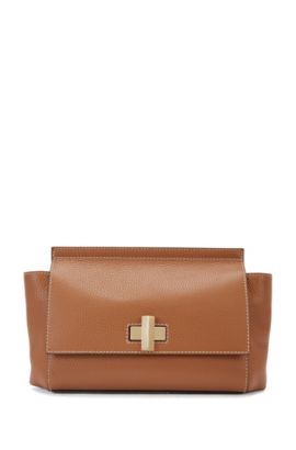 Small BOSS Bespoke Soft bag in grainy leather, Brown