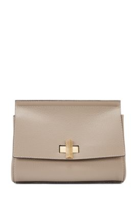 Small BOSS Bespoke Soft bag in grainy leather, Beige