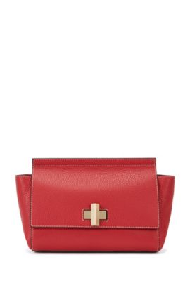 Small BOSS Bespoke Soft bag in grainy leather, Red