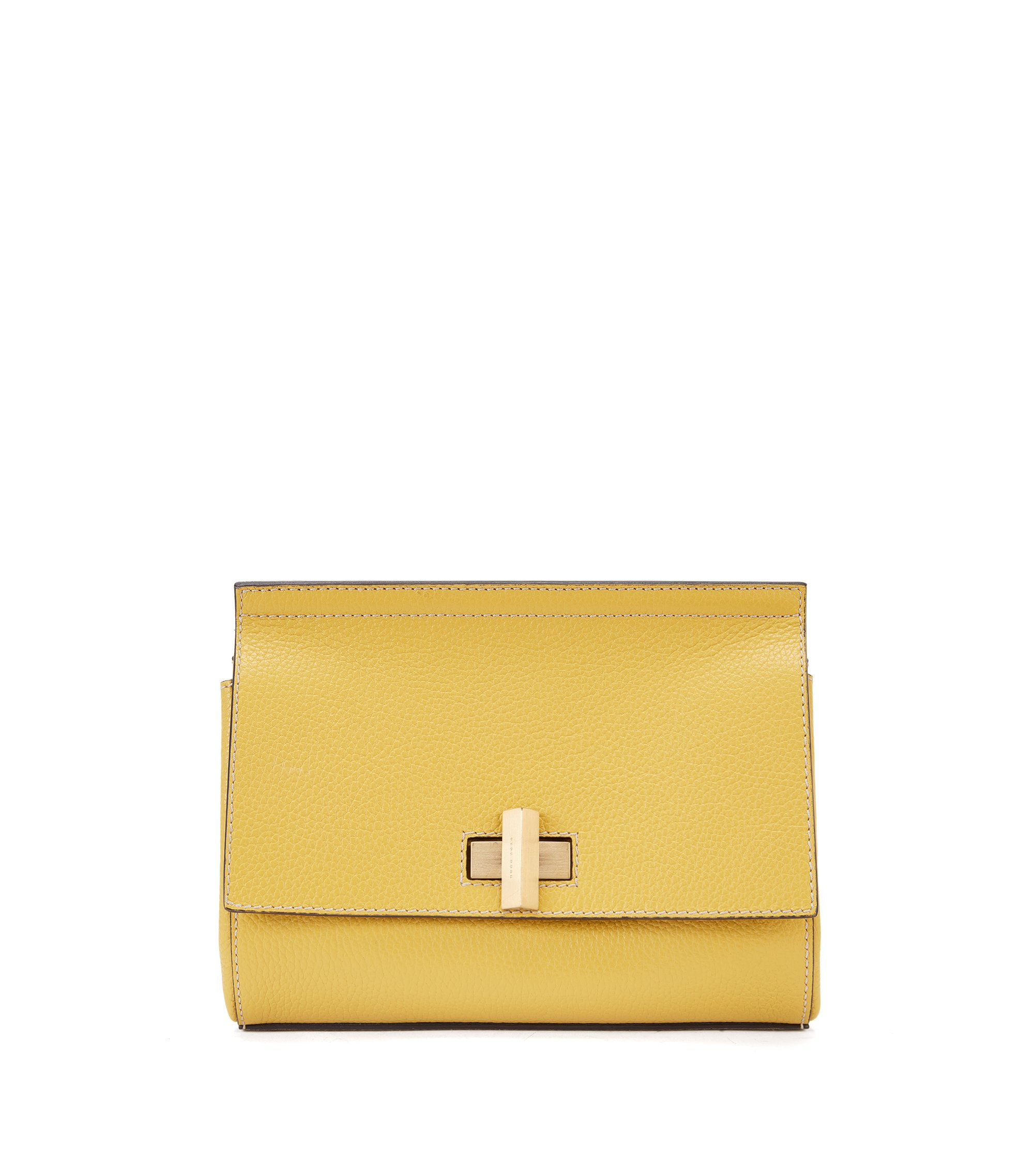 Small BOSS Bespoke Soft bag in grainy leather, Yellow