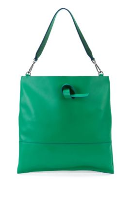 Runway Edition leather shopper with detachable inside pocket: 'Modern Day Tote', Green