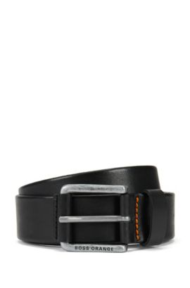 Sporty belt in vegetable-tanned leather, Black