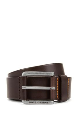 Sporty belt in vegetable-tanned leather, Dark Brown