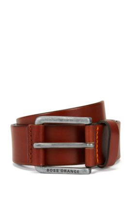 Sporty belt in vegetable-tanned leather, Brown