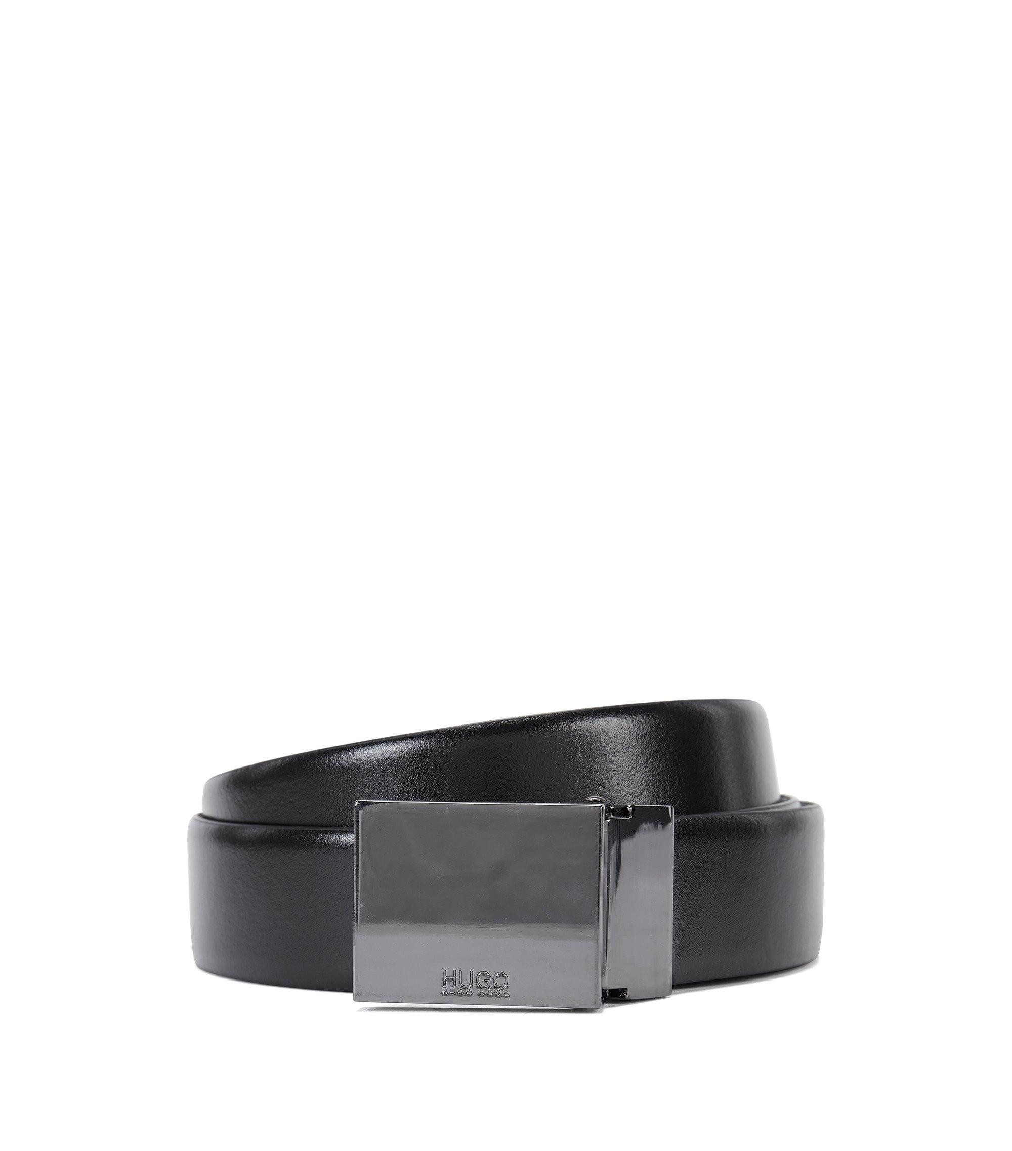 Wendegürtel aus Leder mit zwei Gürtelschnallen, Schwarz