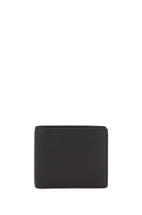 Leather wallet with eight card slots, Black