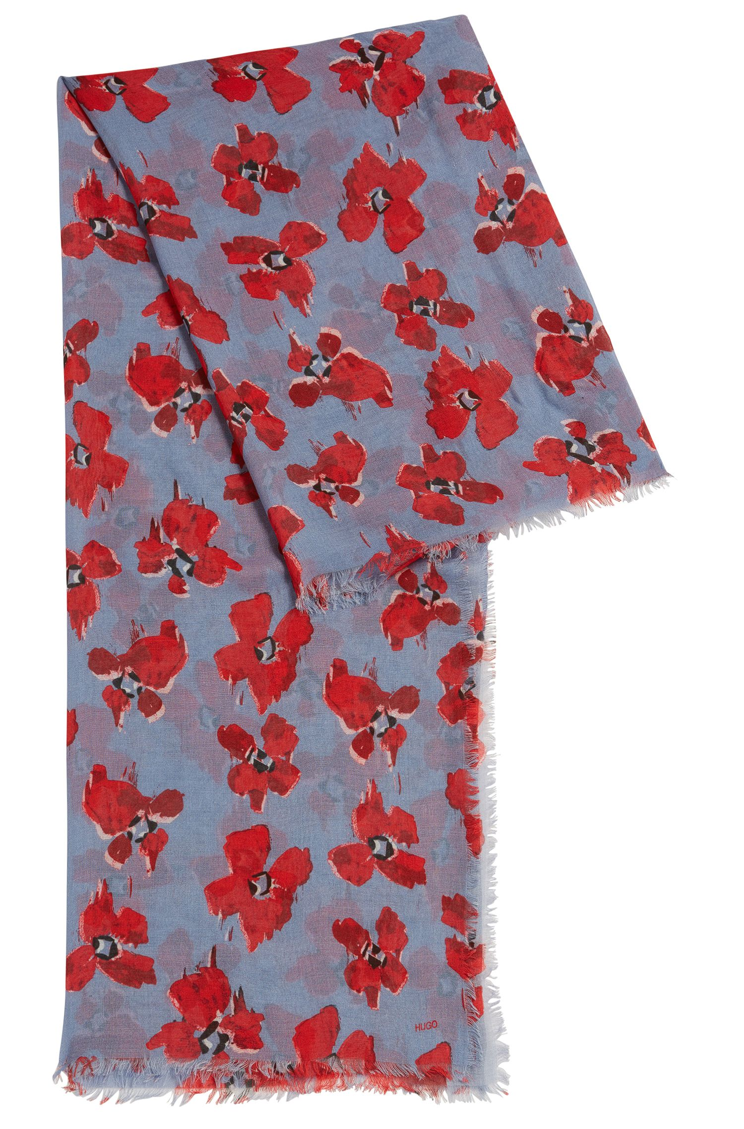 Lightweight scarf in fine modal with floral print