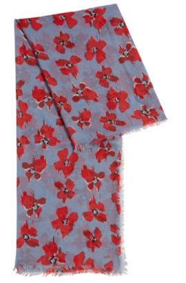 Lightweight scarf in fine modal with floral print, Patterned