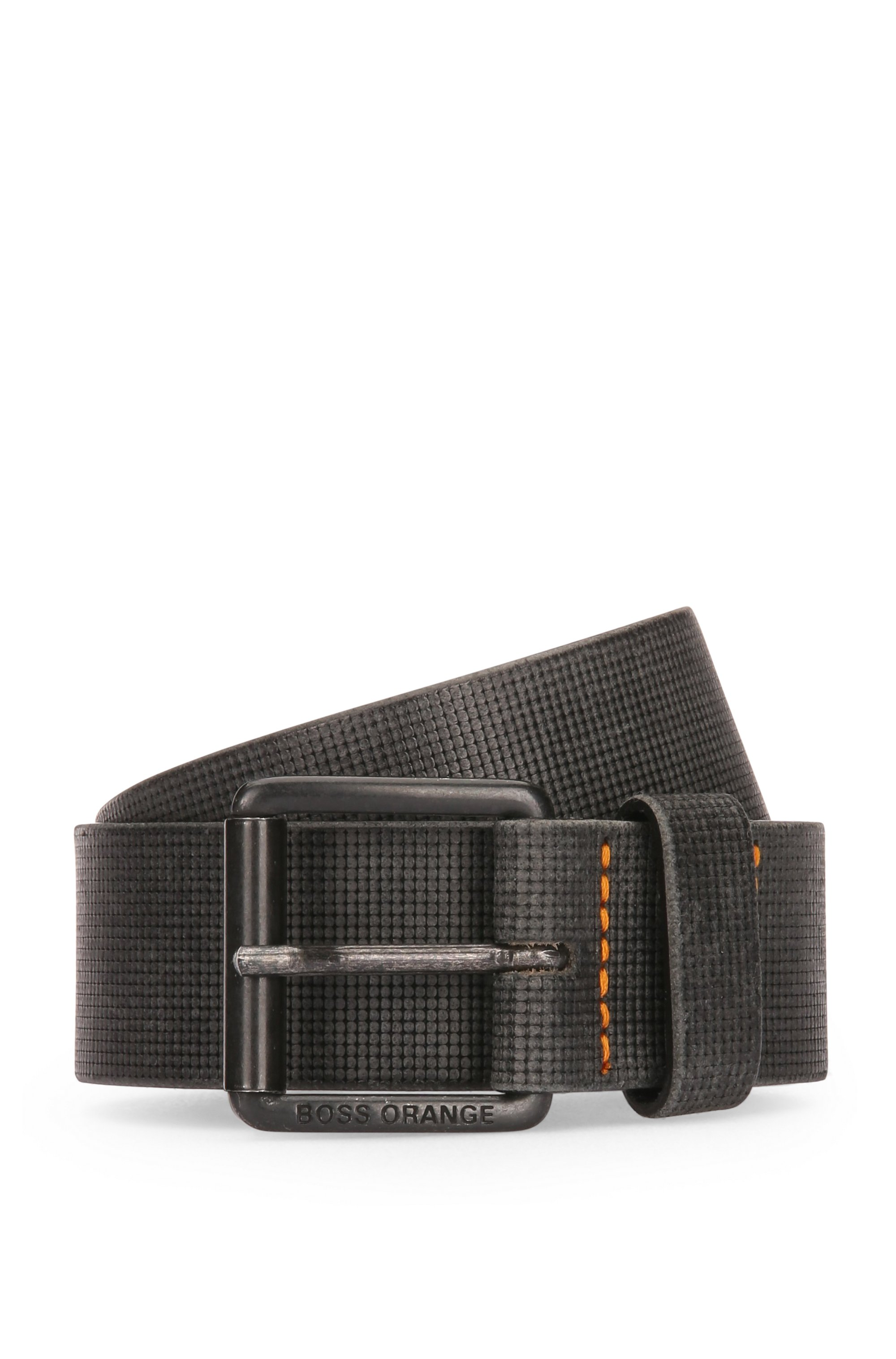 Leather belt with embossed texture, Black