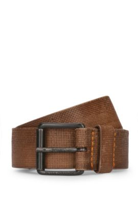 Leather belt with embossed texture, Brown