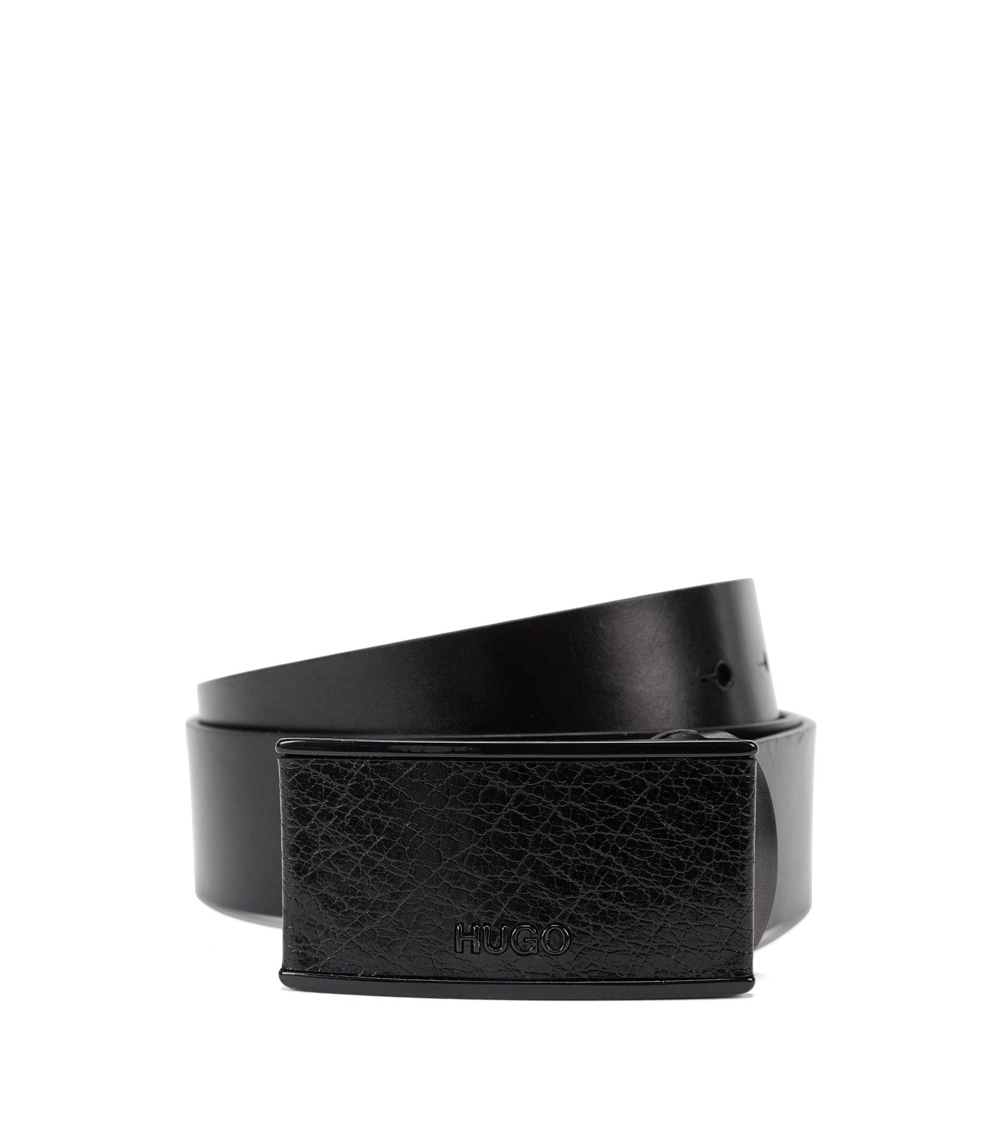 Cintura in pelle con fibbia a piastra rivestita, Nero
