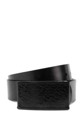 Leather belt with covered plate buckle, Black