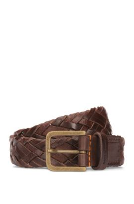 Woven belt in soft leather, Dark Brown