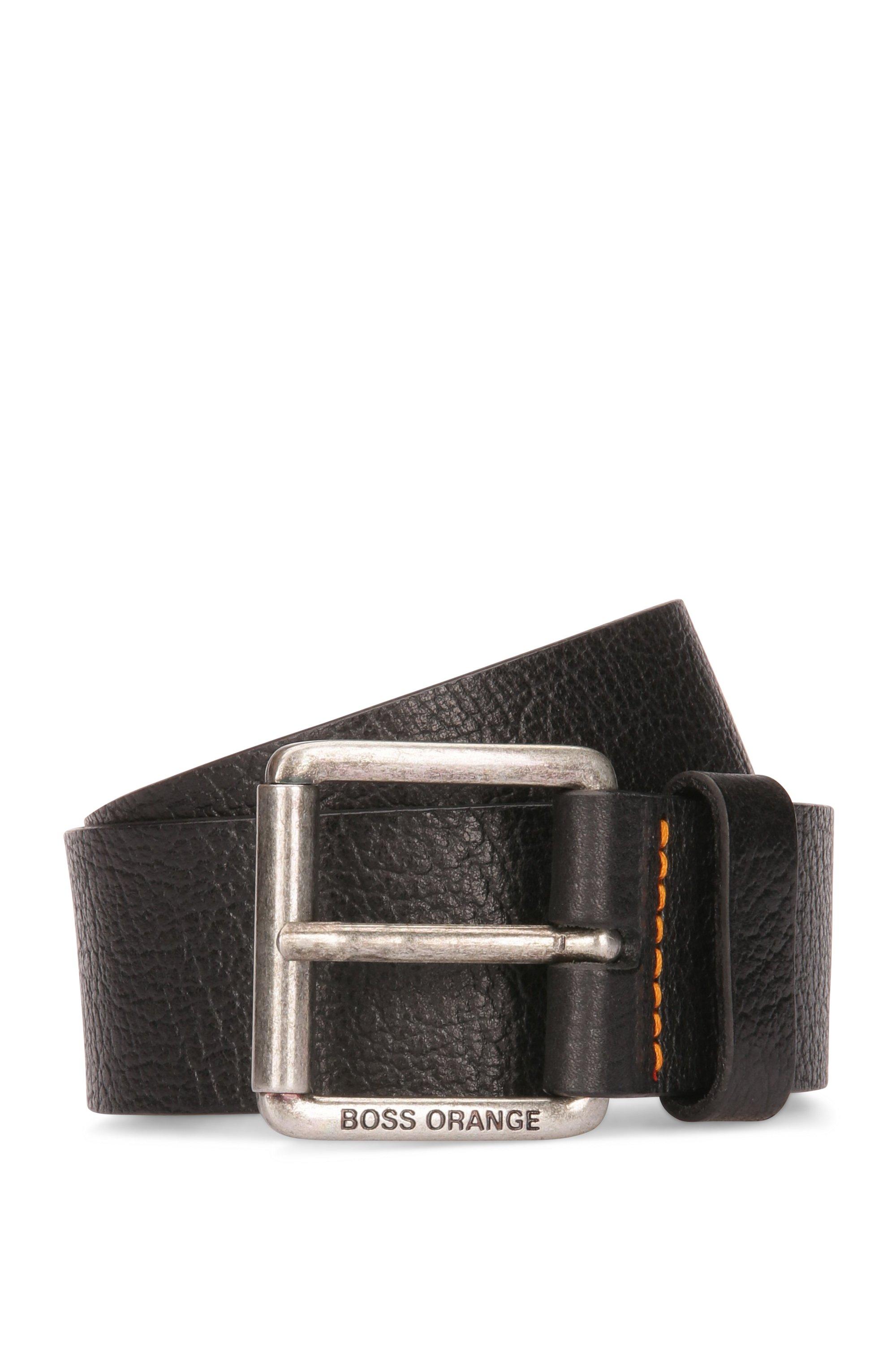 Gürtel aus genarbtem Leder mit Rollschnalle, Schwarz
