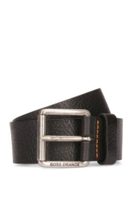 Grained-leather belt with roller buckle, Black