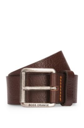 Grained-leather belt with roller buckle, Dark Brown