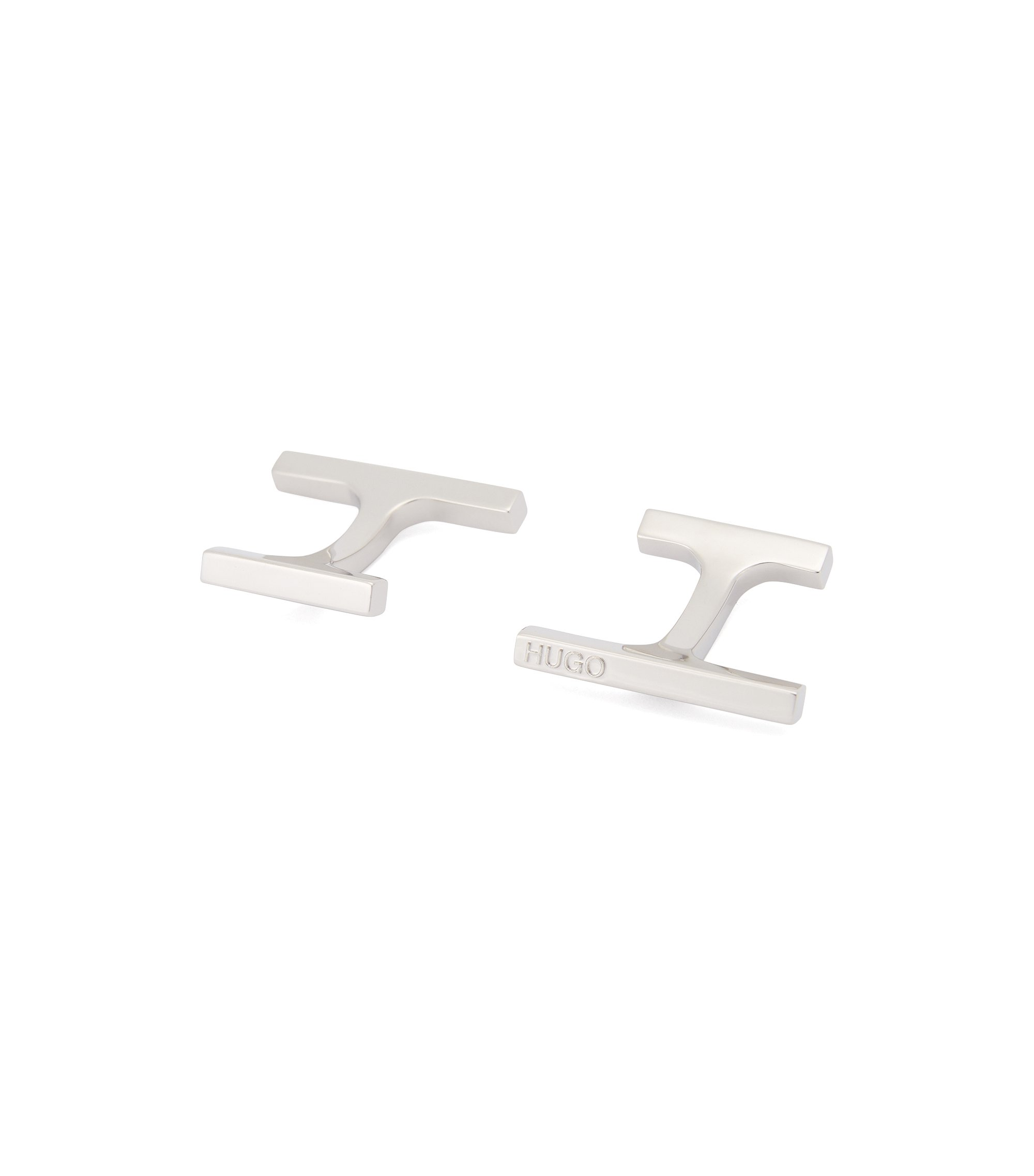Polished bar cufflinks with fix fastenings, Silver